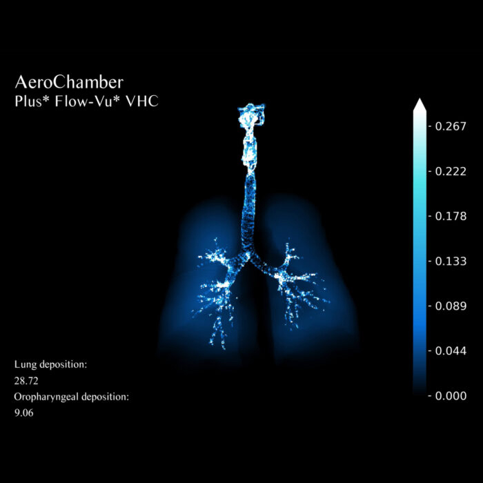 Visualisation FRI study – Effect lung deposition by adding an Aerochamber when using a pMDI in COPD